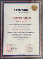 Công ty Thức ăn chăn nuôi Hoa Kỳ được xếp hạng trong Fast 500 DN tăng trưởng nhanh nhất Việt Nam, kỳ công bố 2015